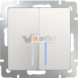 Выключатель двухклавишный с подсветкой Werkel 10A/250В, перламутровый рифленый