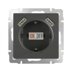 Розетка с заземлением шторками и USBх2 Werkel 16A/250В, винтовой зажим, серо-коричневый