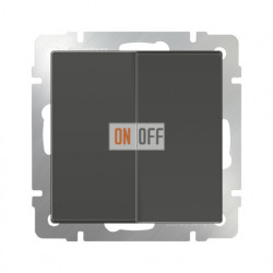 Выключатель двухклавишный проходной Werkel 10A/250В (из 2-х мест) серо-коричневый