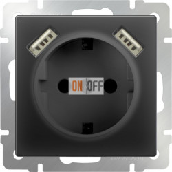 Розетка с заземлением шторками и USBх2 Werkel 16A/250В, винтовой зажим, черный матовый