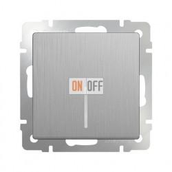Выключатель одноклавишный проходной с подсветкой Werkel 10A/250В (из 2-х мест), серебряный рифленый