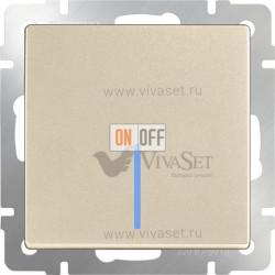 Выключатель одноклавишный проходной с подсветкой Werkel 10A/250В (из 2-х мест), шампань