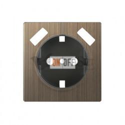 Розетка с заземлением шторками и USBх2 Werkel 16A/250В, винтовой зажим, бронзовый