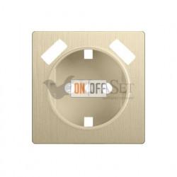 Розетка с заземлением шторками и USBх2 Werkel 16A/250В, винтовой зажим, шампань рифленый