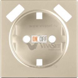 Розетка с заземлением шторками и USBх2 Werkel 16A/250В, винтовой зажим, шампань