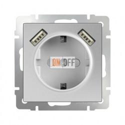 Розетка с заземлением шторками и USBх2 Werkel 16A/250В, винтовой зажим, Werkel серебряный