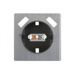 Розетка с заземлением шторками и USBх2 Werkel 16A/250В, винтовой зажим, глянцевый никель