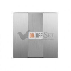 Выключатель трехклавишный Werkel 10A/250В серебряный рифленый