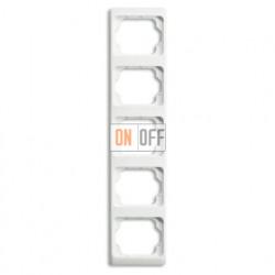 Рамка пятерная для вертикального монтажа Alpha Exclusive белый глянцевый 1754-0-4158