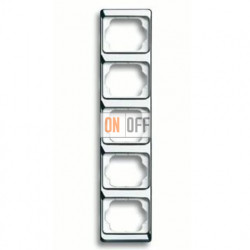 Рамка пятерная для вертикального монтажа Alpha Exclusive хром 1754-0-4167