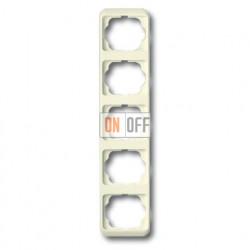 Рамка пятерная для вертикального монтажа ABB Alpha Nea кремовый глянцевый 1754-0-3781