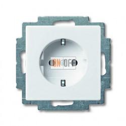 Розетка с заземлением со шторками с безвинтовыми зажимами ABB Basic 55, белый 2013-0-5278
