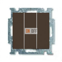 Выключатель трехклавишный ABB Basic 55, шато-черный 1012-0-2173