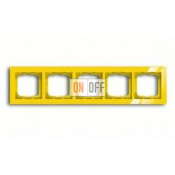 Рамка пятерная ABB Busch-axcent желтый глянцевый 1754-0-4349