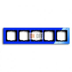 Рамка пятерная ABB Busch-axcent синий глянцевый 1754-0-4355