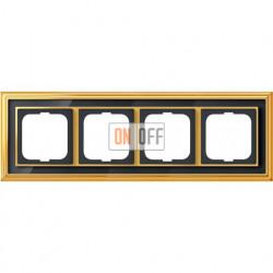 Рамка ABB Dynasty четырехместная (латунь полированная, черное стекло) 1754-0-4568