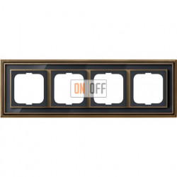 Рамка ABB Dynasty четырехместная (латунь античная, черное стекло) 1754-0-4588