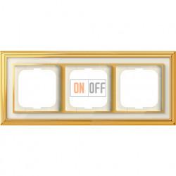 Рамка ABB Dynasty трехместная (латунь полированная, белое стекло) 1754-0-4562