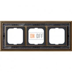 Рамка ABB Dynasty трехместная (латунь античная, черная роспись) 1754-0-4597