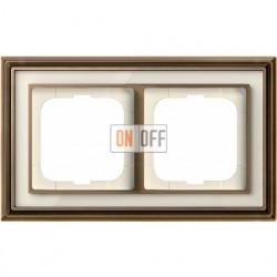 Рамка ABB Dynasty двухместная (латунь античная, белое стекло) 1754-0-4581