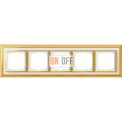 Рамка ABB Dynasty пятиместная (латунь полированная, белое стекло) 1754-0-4564