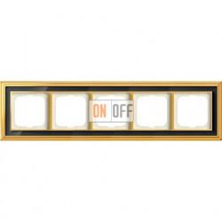 Рамка ABB Dynasty пятиместная (латунь полированная, черное стекло) 1754-0-4569