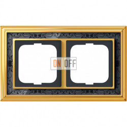 Рамка ABB Dynasty двухместная (латунь полированная, черная роспись) 1754-0-4576