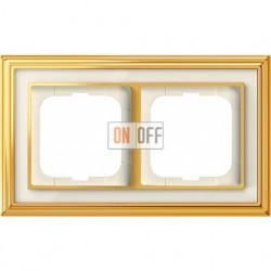 Рамка ABB Dynasty двухместная (латунь полированная, белое стекло) 1754-0-4561