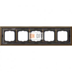 Рамка ABB Dynasty пятиместная (латунь античная, черная роспись) 1754-0-4599