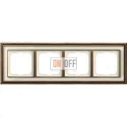 Рамка ABB Dynasty четырехместная (латунь античная, белое стекло) 1754-0-4583