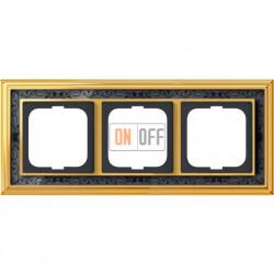 Рамка ABB Dynasty трехместная (латунь полированная, черная роспись) 1754-0-4577