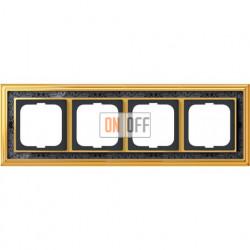 Рамка ABB Dynasty четырехместная (латунь полированная, черная роспись) 1754-0-4578