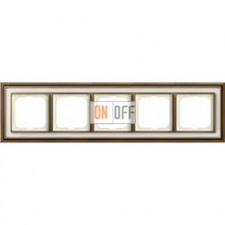 Рамка ABB Dynasty пятиместная (латунь античная, белое стекло) 1754-0-4584