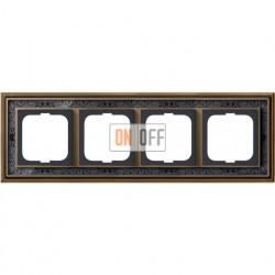Рамка ABB Dynasty четырехместная (латунь античная, черная роспись) 1754-0-4598