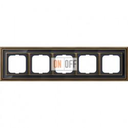 Рамка ABB Dynasty пятиместная (латунь античная, черное стекло) 1754-0-4589