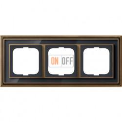 Рамка ABB Dynasty трехместная (латунь античная, черное стекло) 1754-0-4587