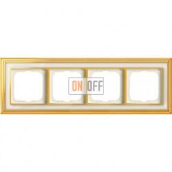 Рамка ABB Dynasty четырехместная (латунь полированная, белое стекло) 1754-0-4563