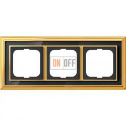 Рамка ABB Dynasty трехместная (латунь полированная, черное стекло) 1754-0-4567