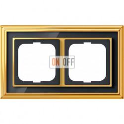 Рамка ABB Dynasty двухместная (латунь полированная, черное стекло) 1754-0-4566