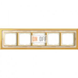 Рамка ABB Dynasty пятиместная (латунь полированная, белая роспись) 1754-0-4574