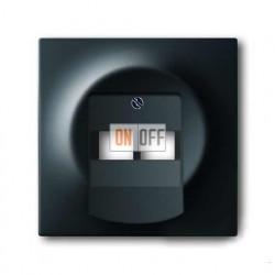 Розетка телефонная двойная RJ11, ABB Impuls черный бархат 0230-0-0243 - 1753-0-0161