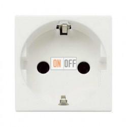 Розетка с заземлением с безвинтовыми контактами, со шторками  ZENIT (Белый) N2288.6 BL