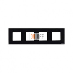 Рамка 4 поста по 2 модуля ABB Zenit, немецкий стандарт (черное стекло) N2274 CN - N2271.9 - N2271.9 - N2271.9 - N2271.9