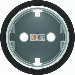 Розетка с заземлением со шторками с винтовыми клеммами ABB Skymoon, черное стекло 8188.9 - 8688.9 CN