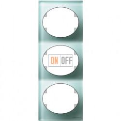 Рамка трехместная вертикальная Tacto (стекло лазурь) 5573 CG