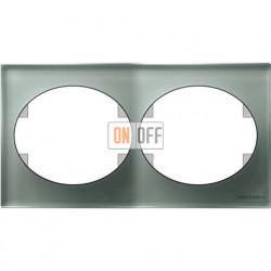 Рамка двухместная горизонтальная ABB Tacto (серебрянное стекло) 5572.1 CL