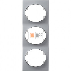Рамка трехместная вертикальная ABB Tacto (серебристая) 5573 PL