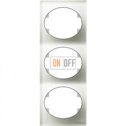 Рамка трехместная вертикальная ABB Tacto (белое стекло) 5573 CB