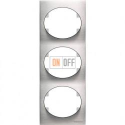 Рамка трехместная вертикальная ABB Tacto (сталь) 5573 OX