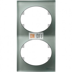 Рамка двухместная вертикальная ABB Tacto (серебрянное стекло) 5572 CL